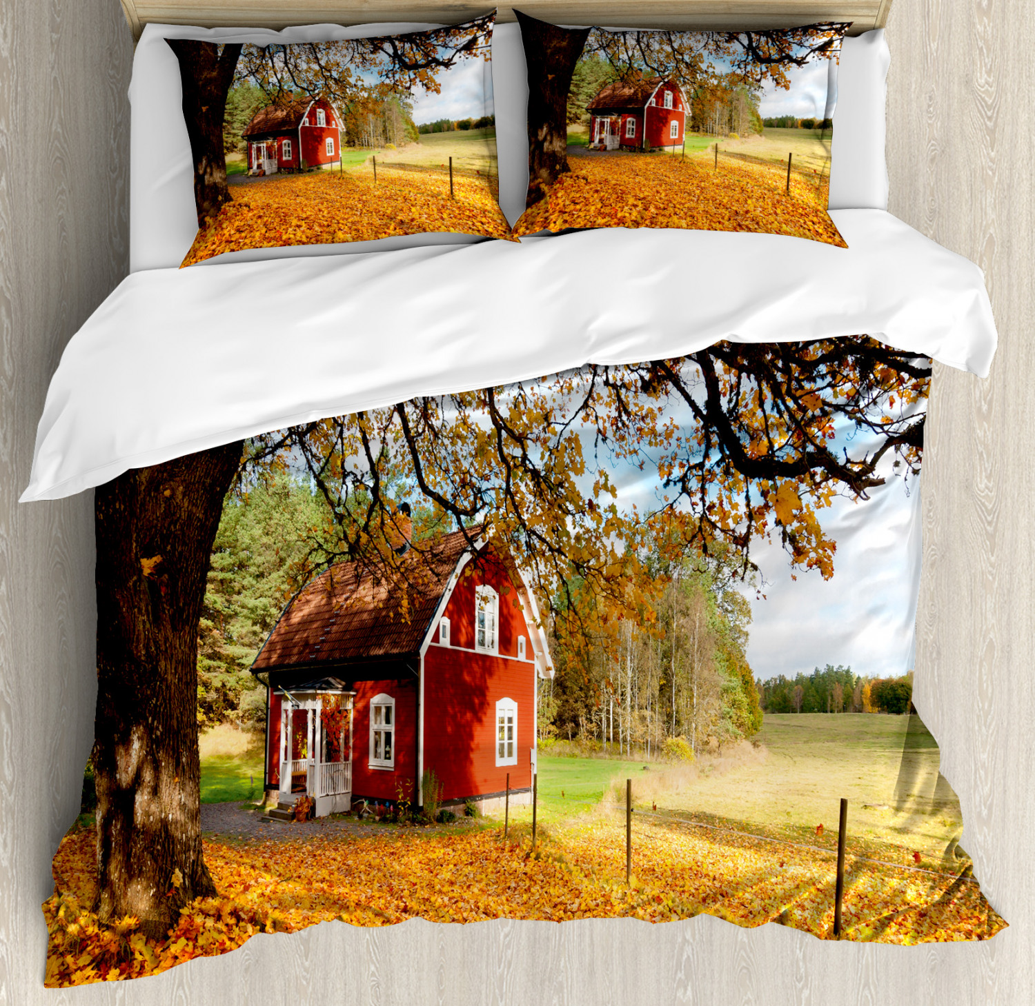 Fall Duvet Cover Set with Pillow Shams rosso Swedish Country House Print