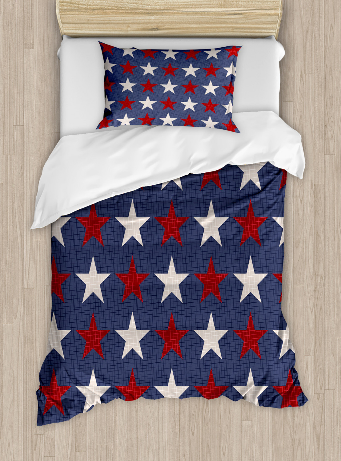 Primitive-Country-Duvet-Cover-Set-with-Pillow-Shams-US-Freedom-Print thumbnail 6