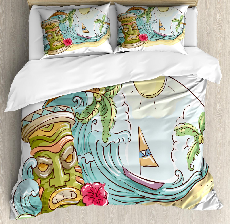 Tiki Bar Duvet Cover Set with Pillow Shams Cartoon Beach Print