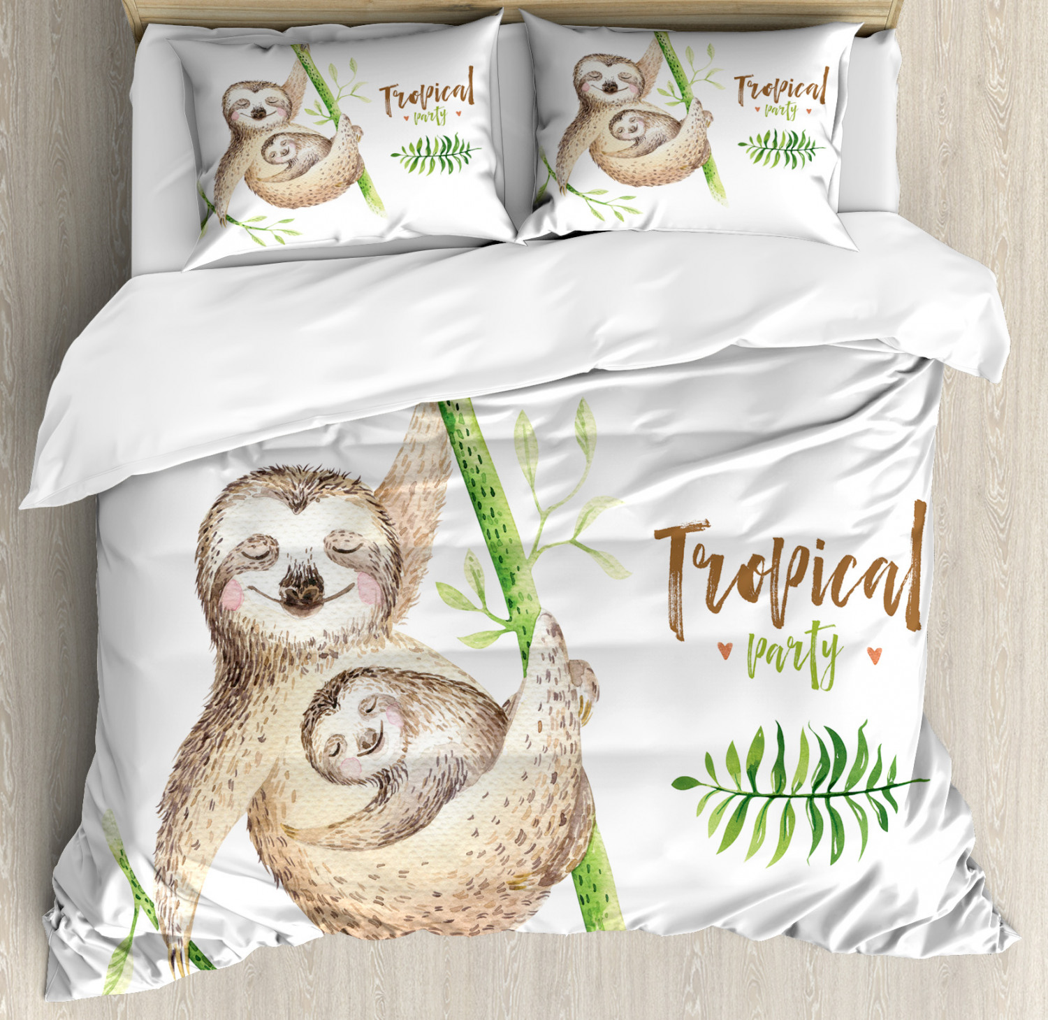 Sloth Duvet Cover Set with Pillow Shams Happy Family Boho Style Print