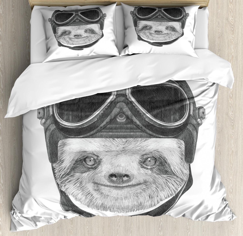 Sloth Duvet Cover Set with Pillow Shams Biker Hipster Animal