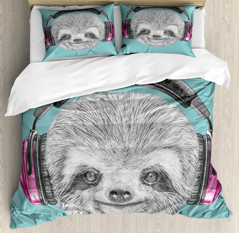 Sloth Duvet Cover Set with Pillow Shams DJ Sloth Headphones Print