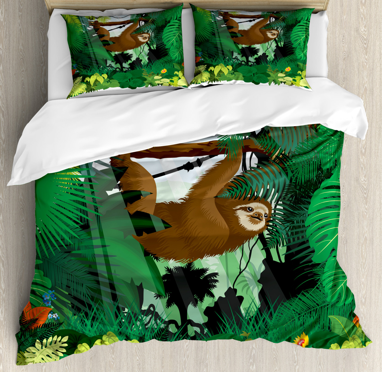 Sloth Duvet Cover Set with Pillow Shams Vibrant Rainforest Plants Print