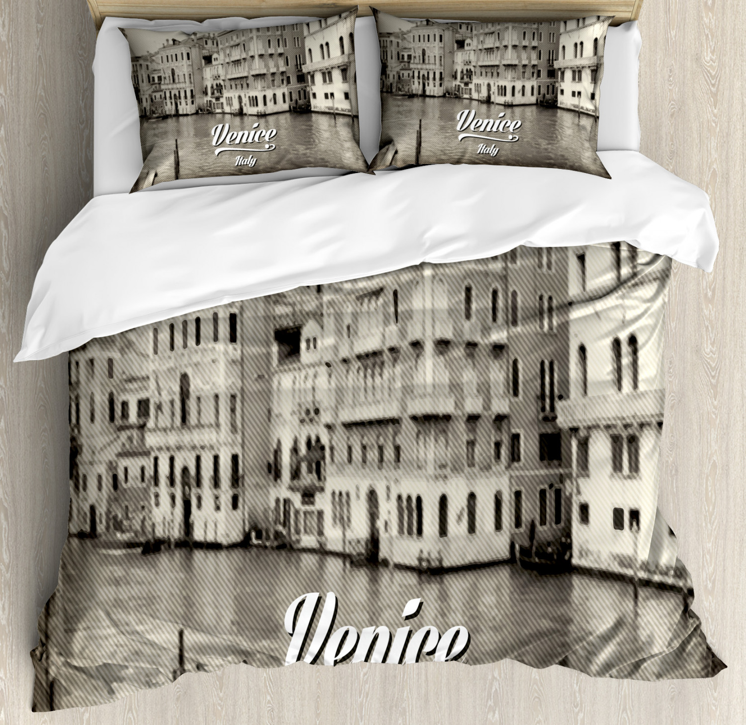 Venice Duvet Cover Set with Pillow Shams Old Venice Vintage Photo Print