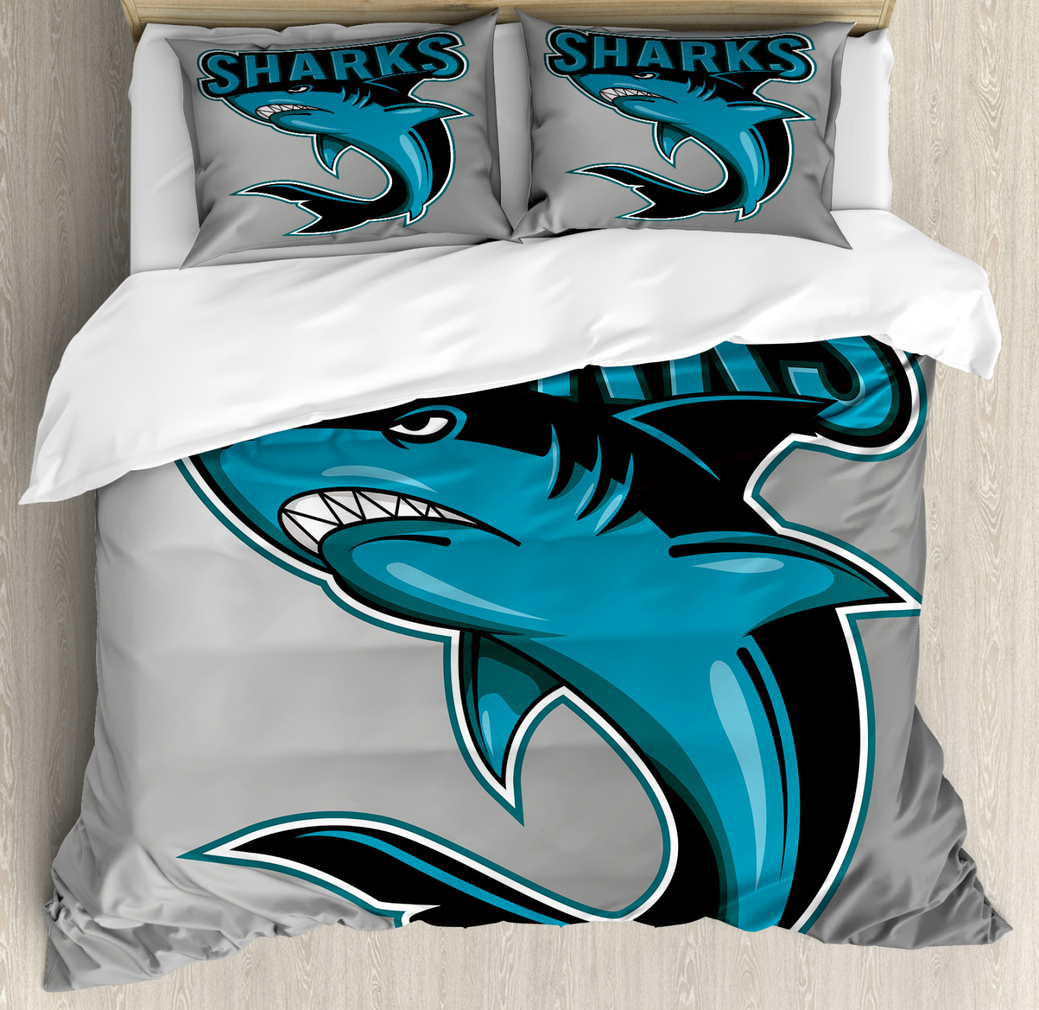 Shark Duvet Cover Set with Pillow Shams Angry Danger Fish Fins Print