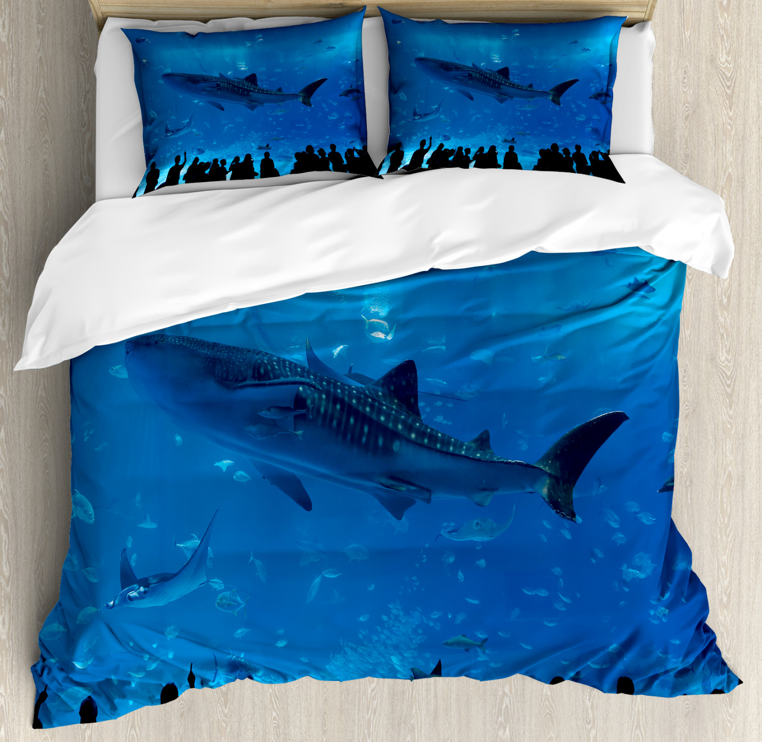 Shark Duvet Cover Set with Pillow Shams Aquarium Park and People Print