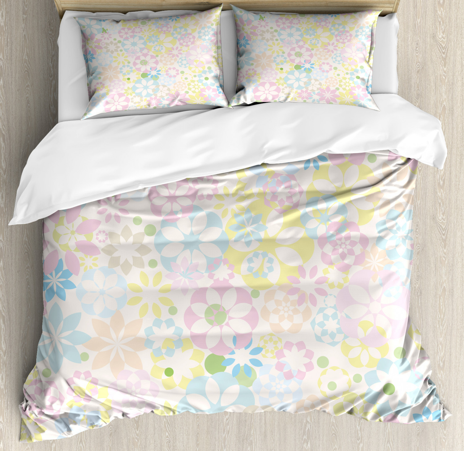 Pastel Duvet Cover Set with Pillow Shams Blooming Flowers Spring Print