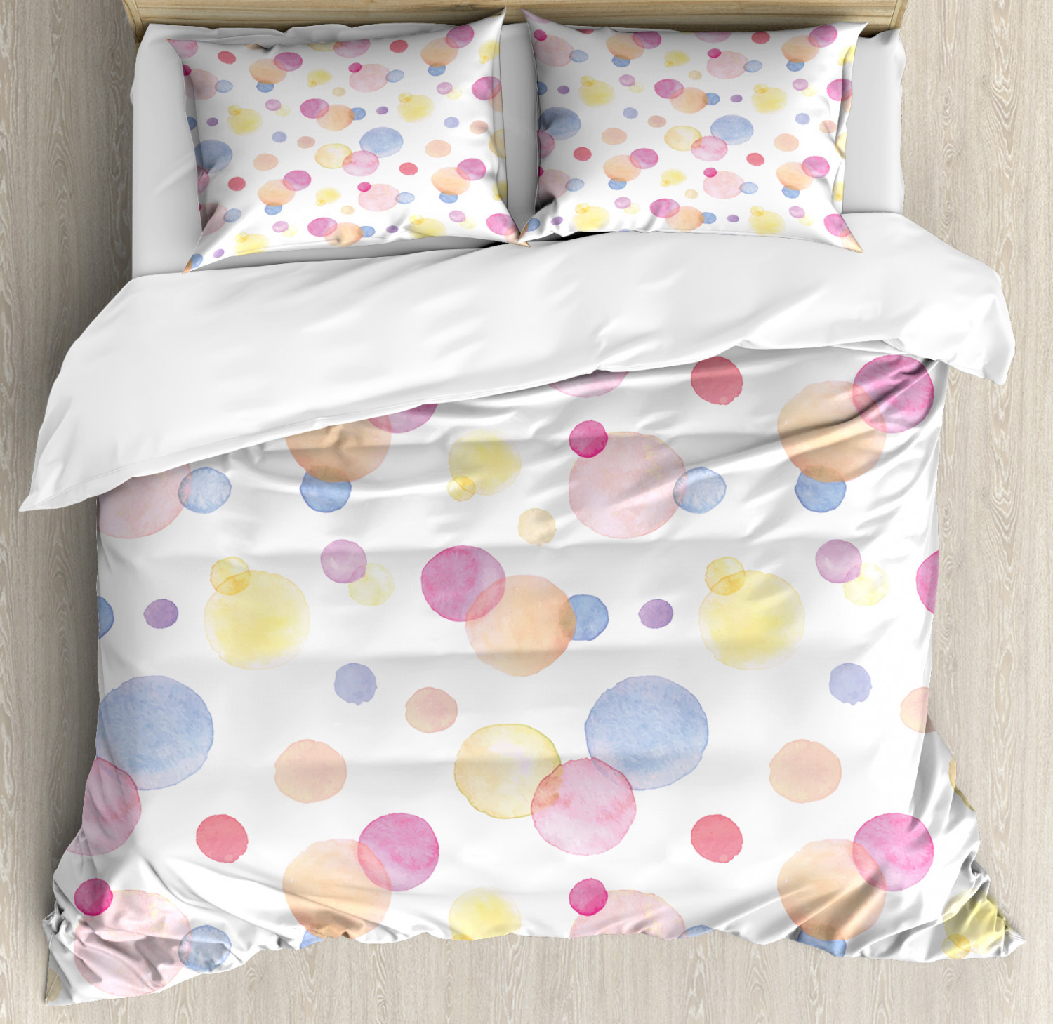 Pastel Duvet Cover Set with Pillow Shams Watercolor Drops Artful Print