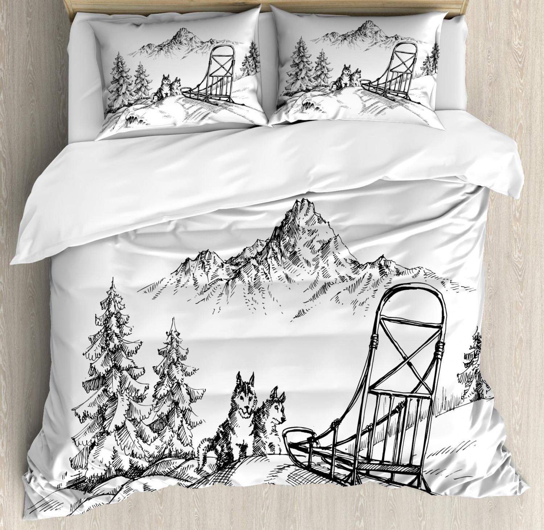 Alaskan Malamute Duvet Cover Set with Pillow Shams Winter Woods Print