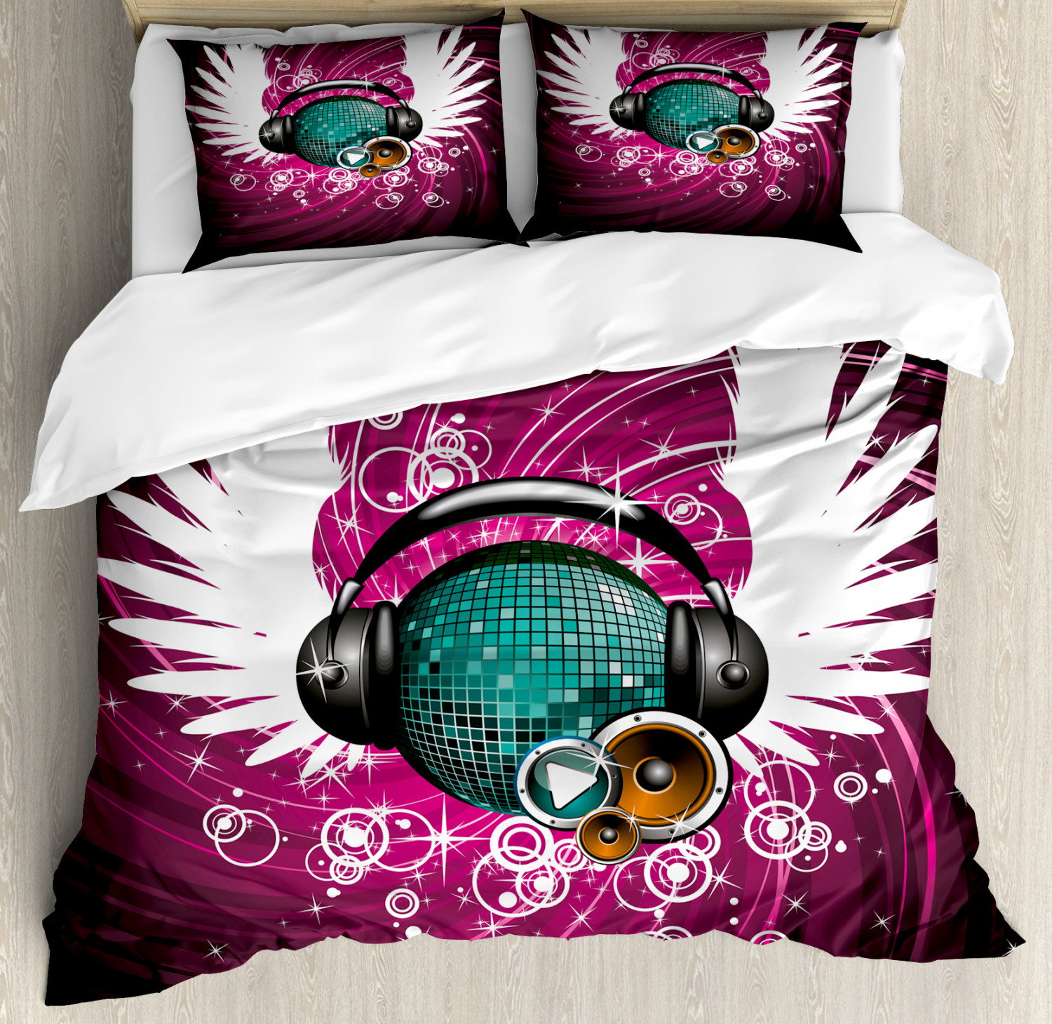 Popstar Party Duvet Cover Set with Pillow Shams Disco Ball Music Print