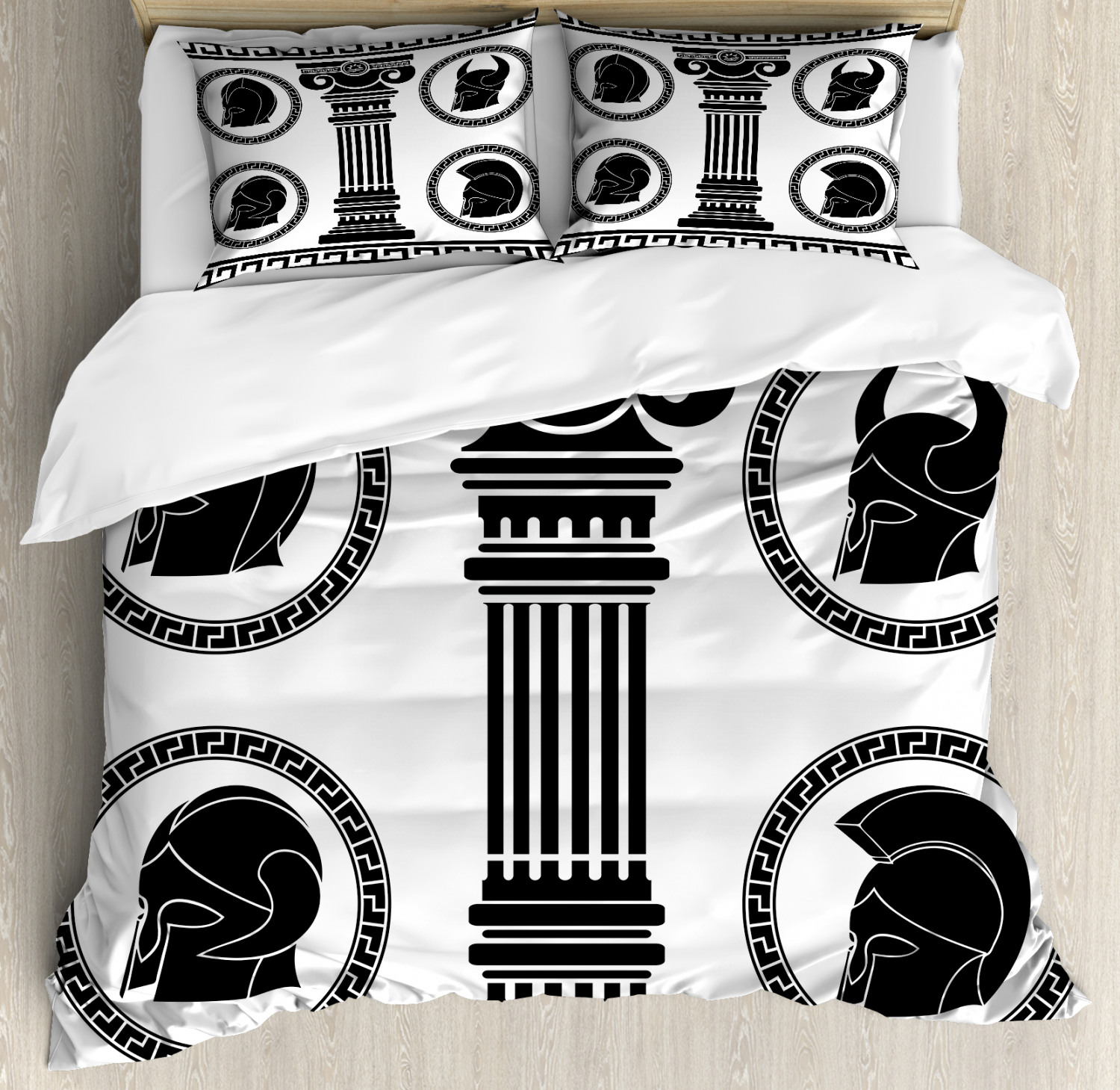 Toga Party Duvet Cover Set with Pillow Shams Antique Spartan Print