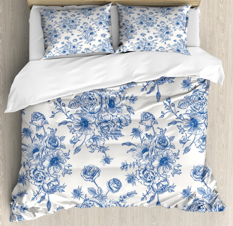 Anemone Flower Duvet Cover Set with Pillow Shams Floral Corsage Print