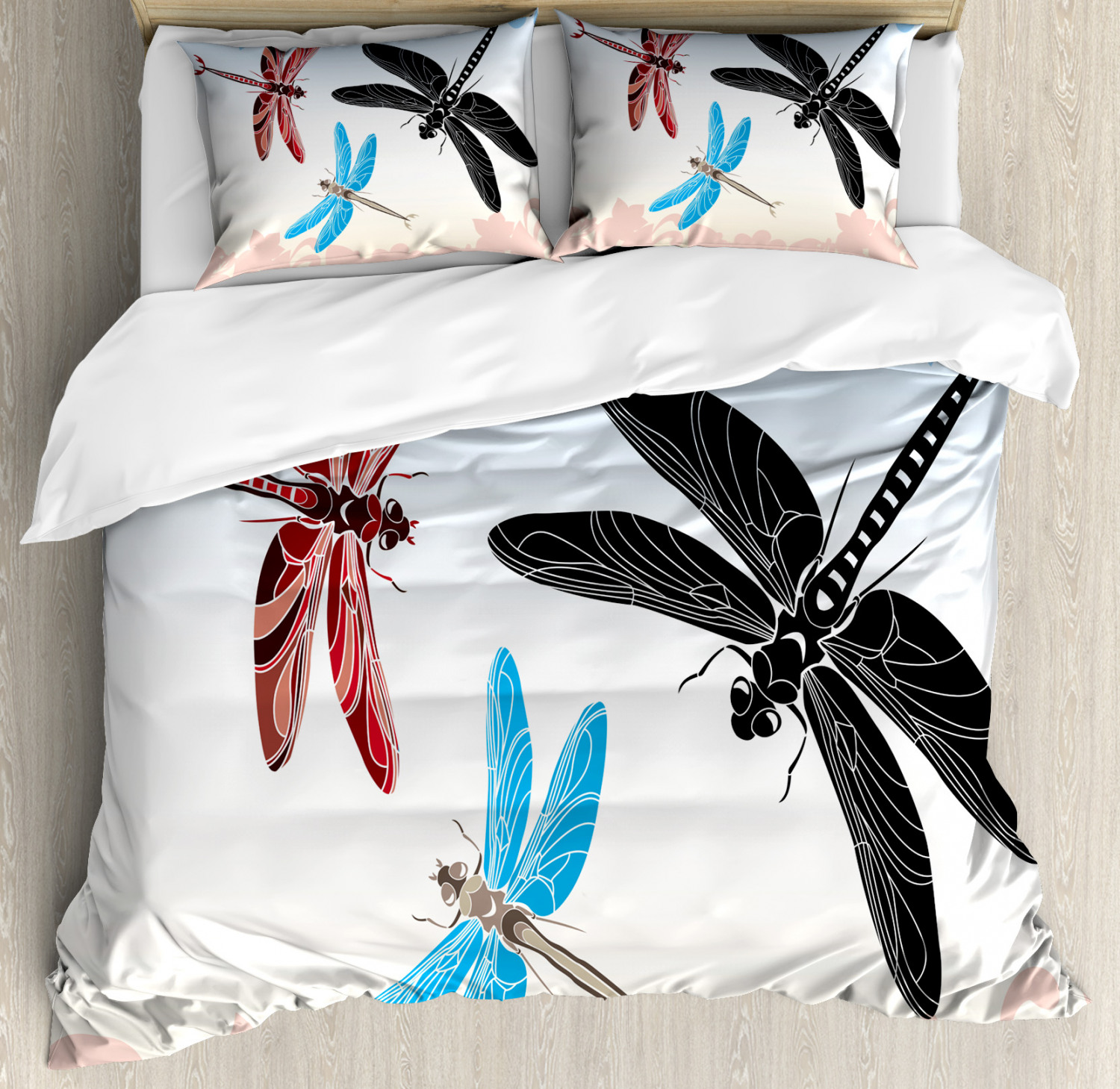 Dragonfly Duvet Cover Set with Pillow Shams Exotic Animal Wing Print