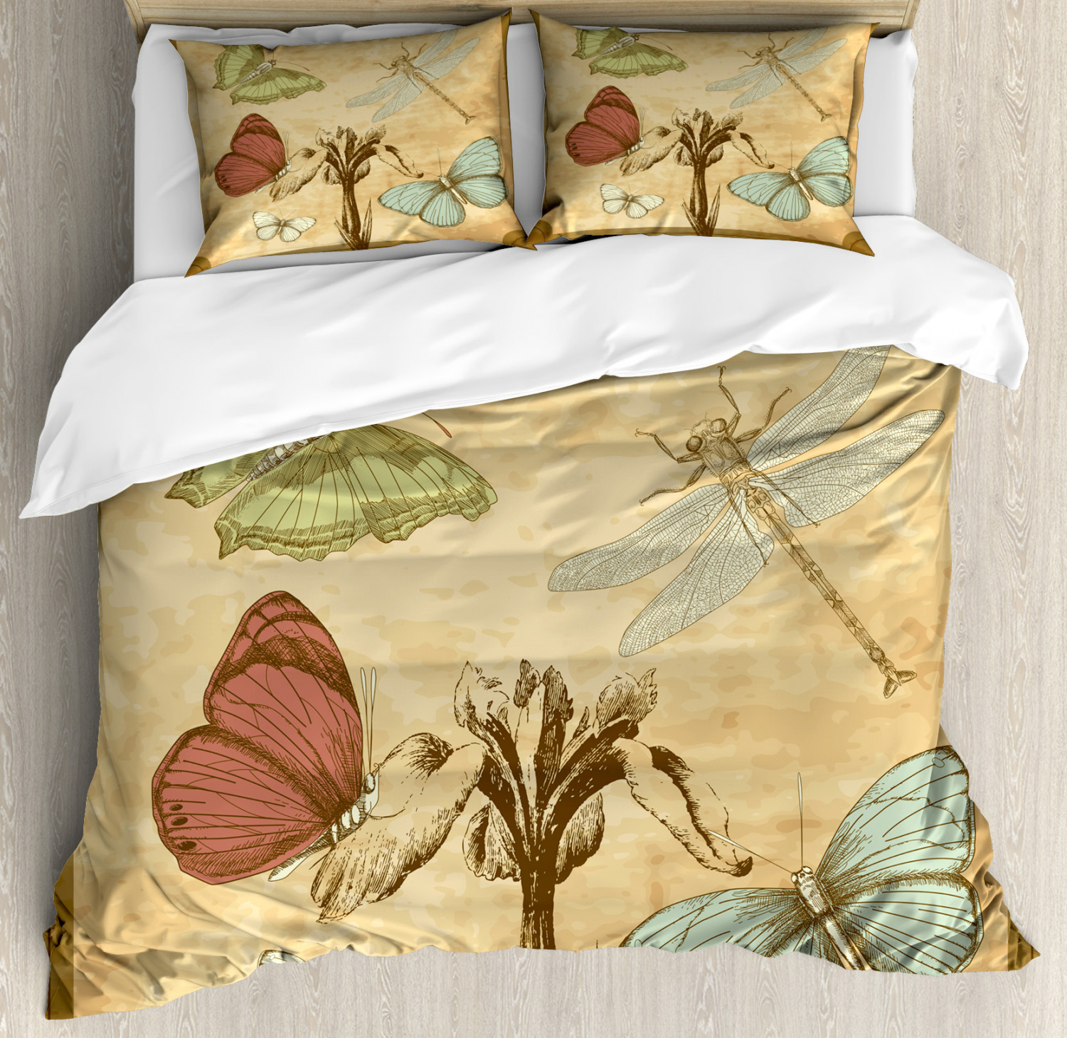 Dragonfly Duvet Cover Set with Pillow Shams Retro Butterflies Art Print