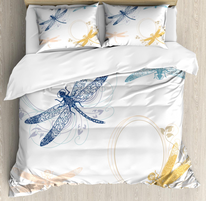 Dragonfly Duvet Cover Set with Pillow Shams Floral Spring Se