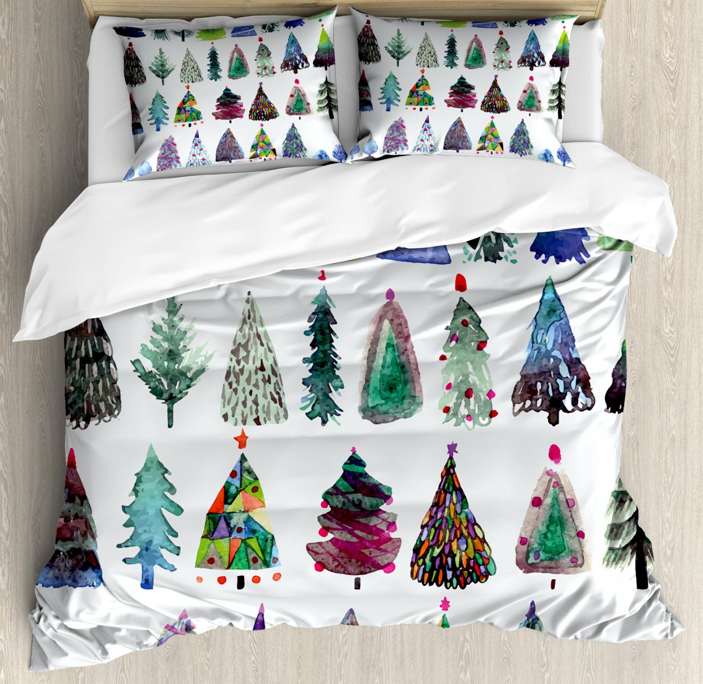 Christmas Duvet Cover Set with Pillow Shams Watercolor Fir T