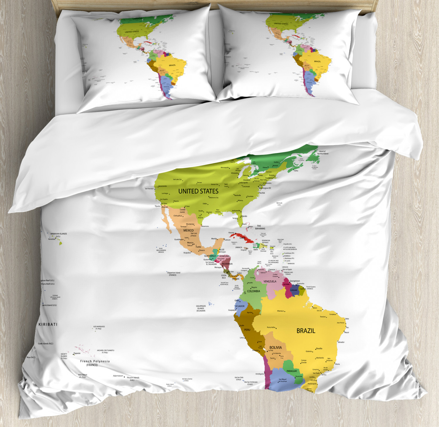 Map Duvet Cover Set with Pillow Shams South and North America Print