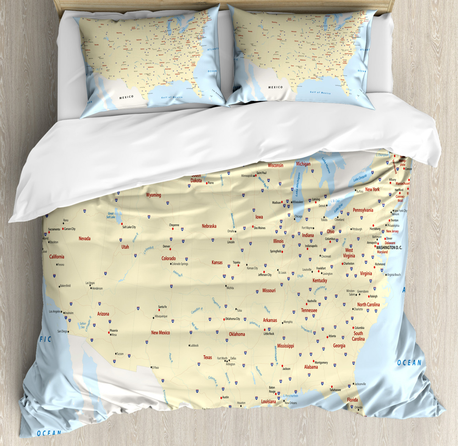 Map Duvet Cover Set with Pillow Shams America Cities Interstate Print