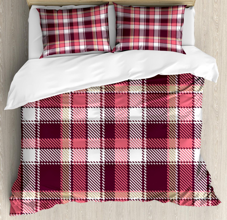 Plaid Duvet Cover Set with Pillow Shams Retro Lumberjack Buffalo Print