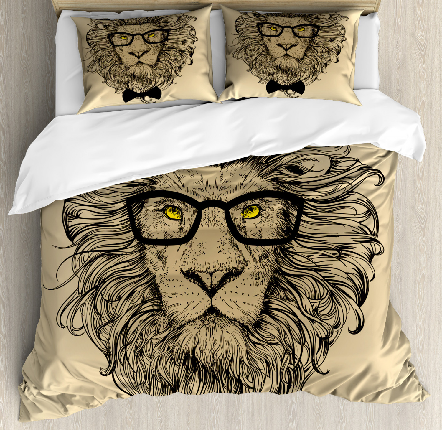 Indie Duvet Cover Set with Pillow Shams Dandy Cool Lion Character Print