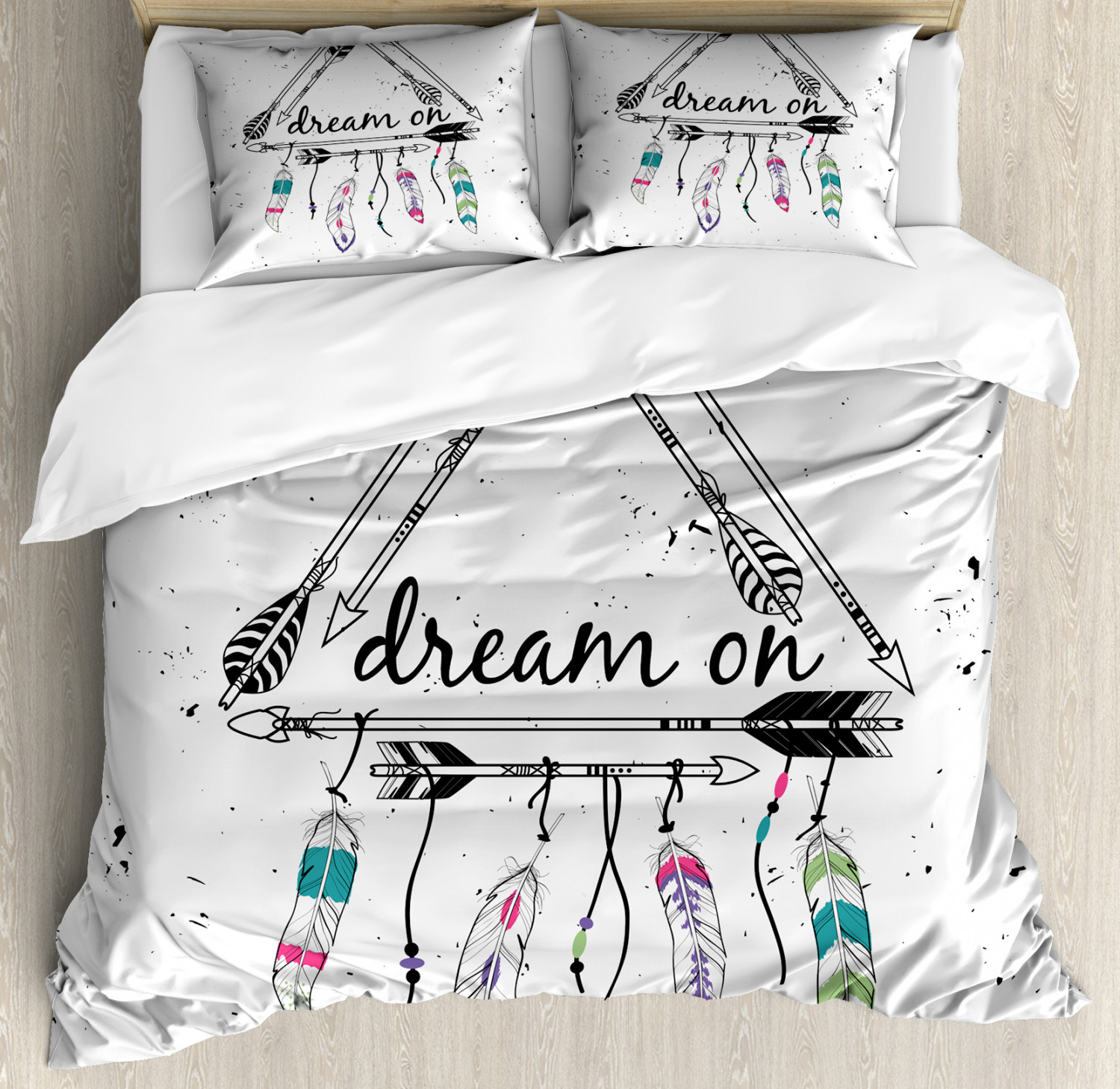 Indie Duvet Cover Set with Pillow Shams Bohemian Tribal Dream On Print