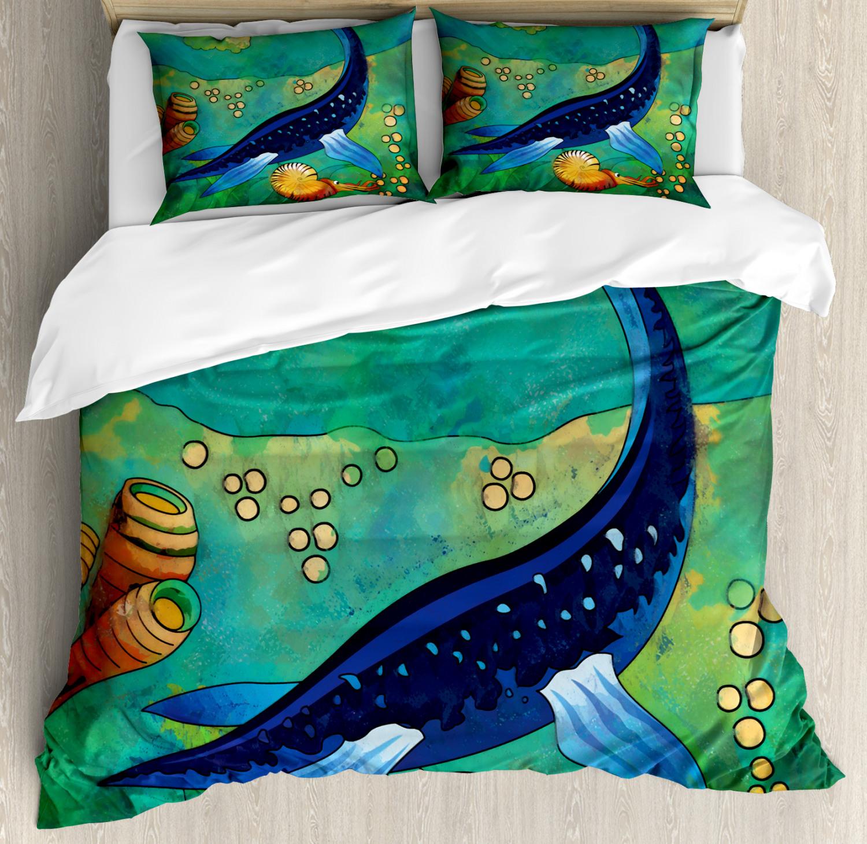 Dinosaur Duvet Cover Set with Pillow Shams Ancient Sea Creature Print