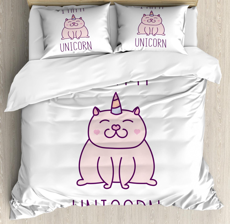 Unicorn Cat Duvet Cover Set with Pillow Shams Fantastic Kitten Print