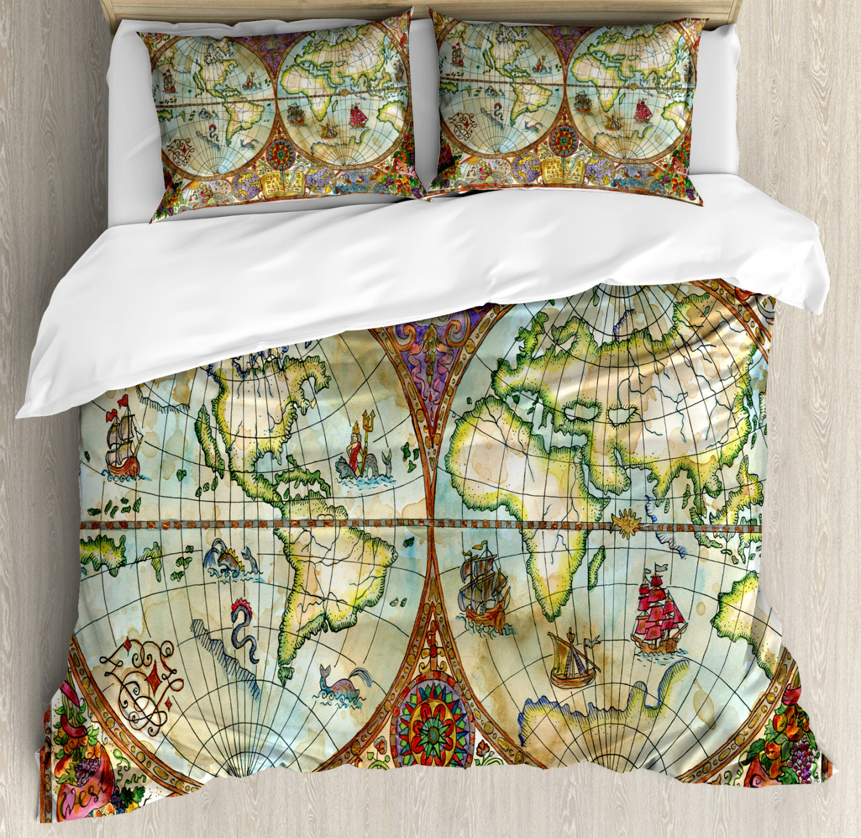 Details about Watercolor Duvet Cover Set with Pillow Shams Vintage World  Map Print
