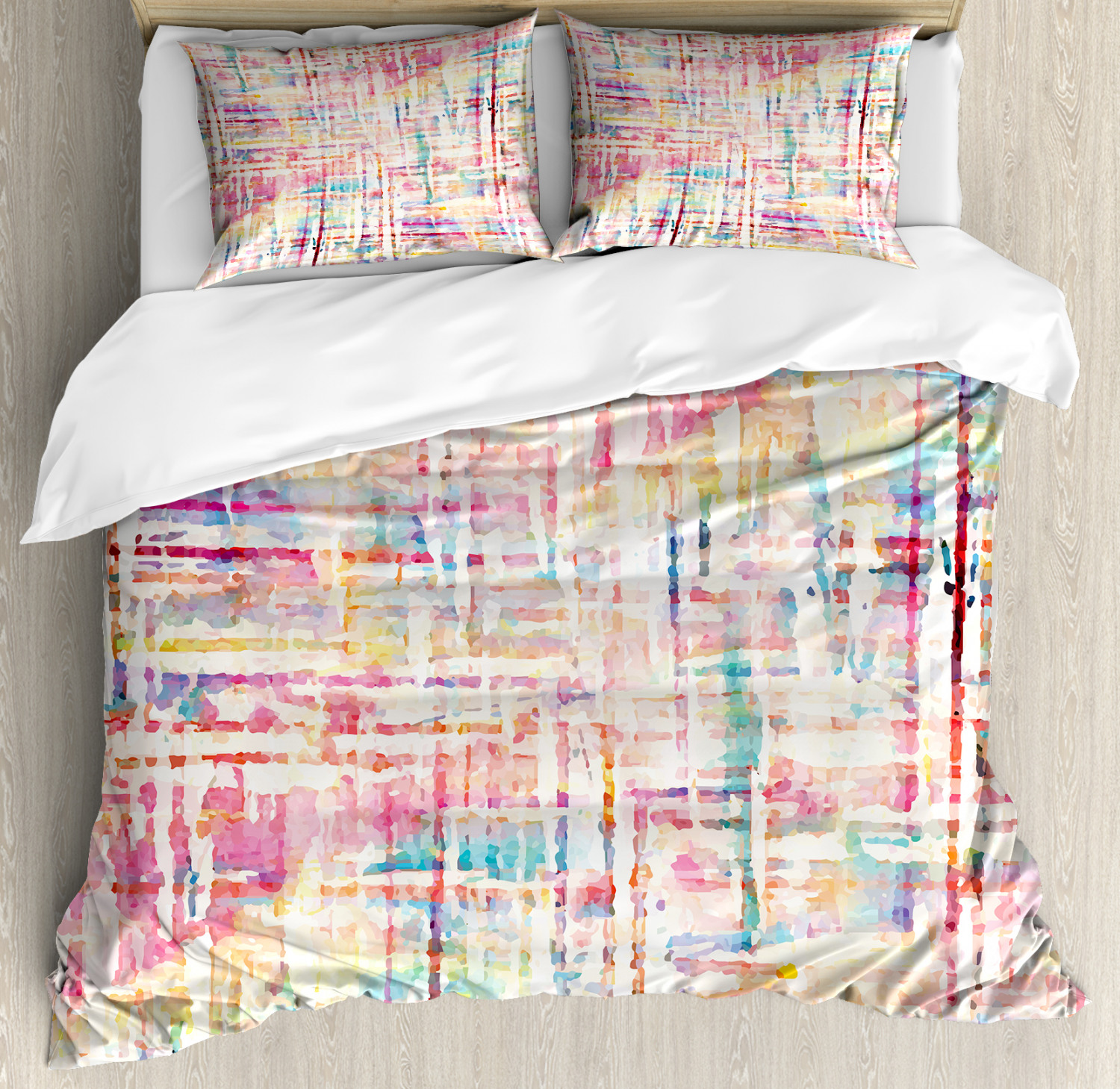 Watercolor Duvet Cover Set with Pillow Shams Scattered colors Art Print