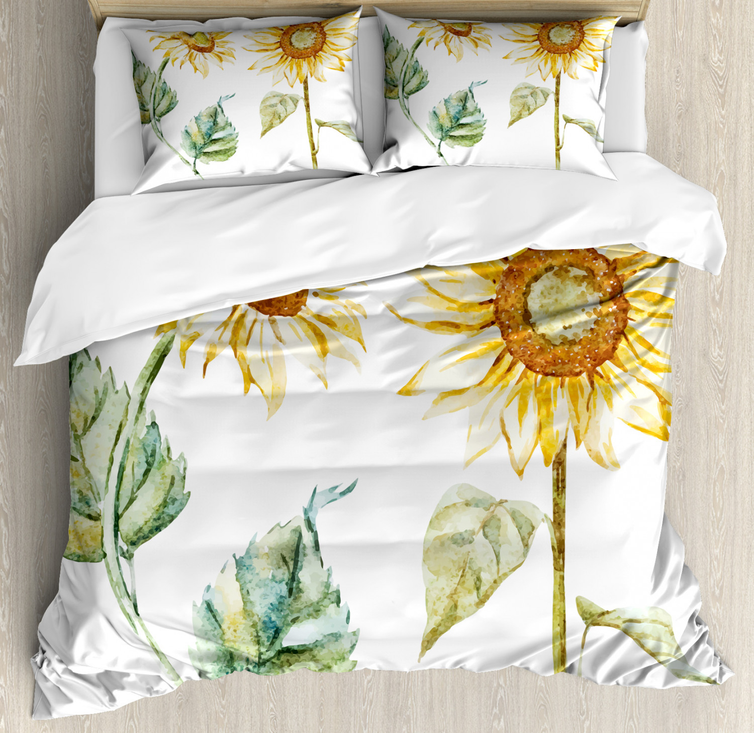 WaterColoreee Duvet Cover Set with Pillow Shams Alluring Sunflowers Print