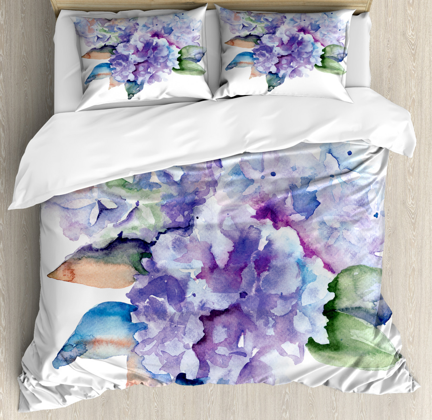 Watercolor Duvet Cover Set with Pillow Shams Blooming Hydrangea Print