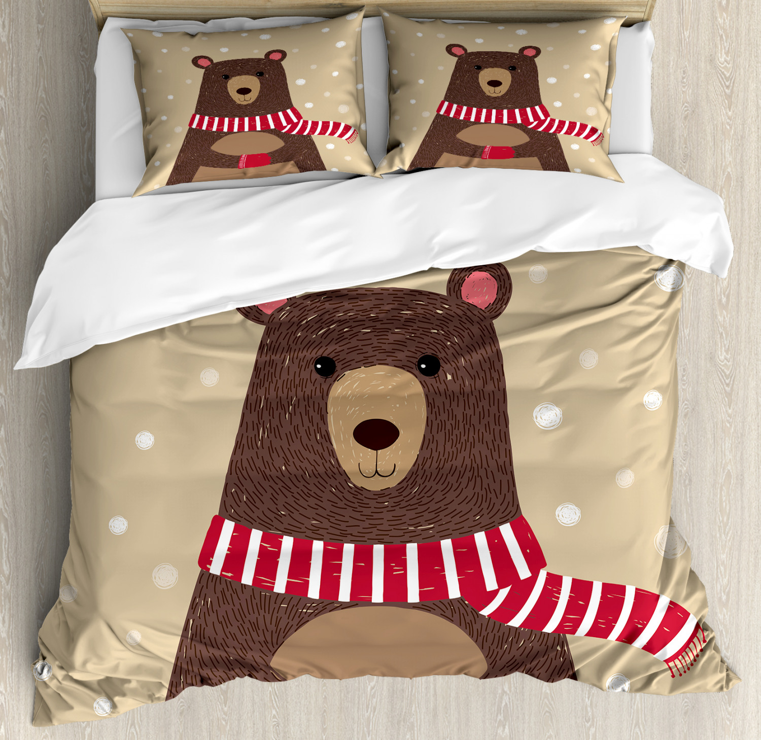 Doodle Duvet Cover Set with Pillow Shams Cute Bear rosso Scarf Print