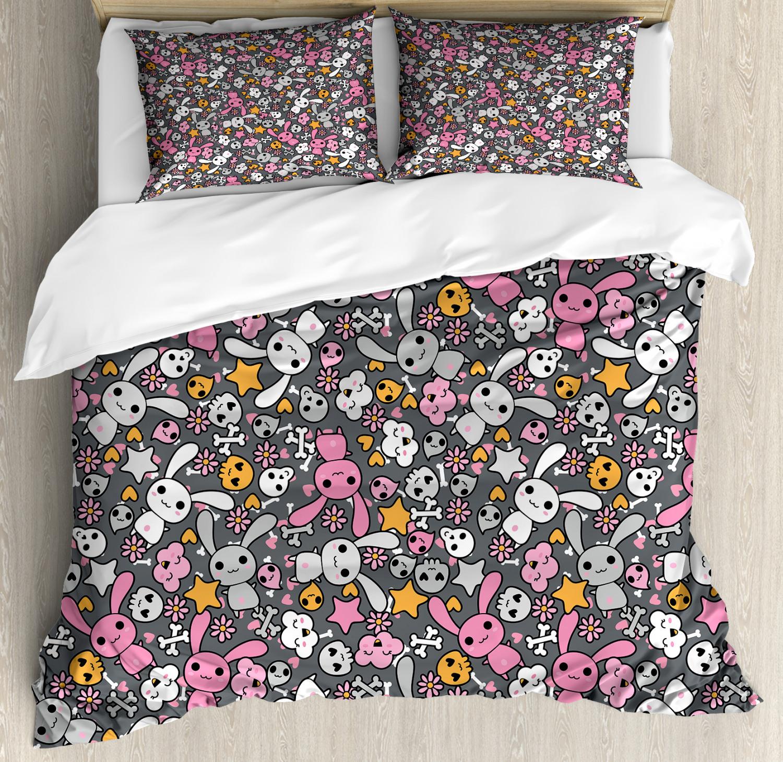 Doodle Duvet Cover Set with Pillow Shams Kawai Bunnies Clouds Print