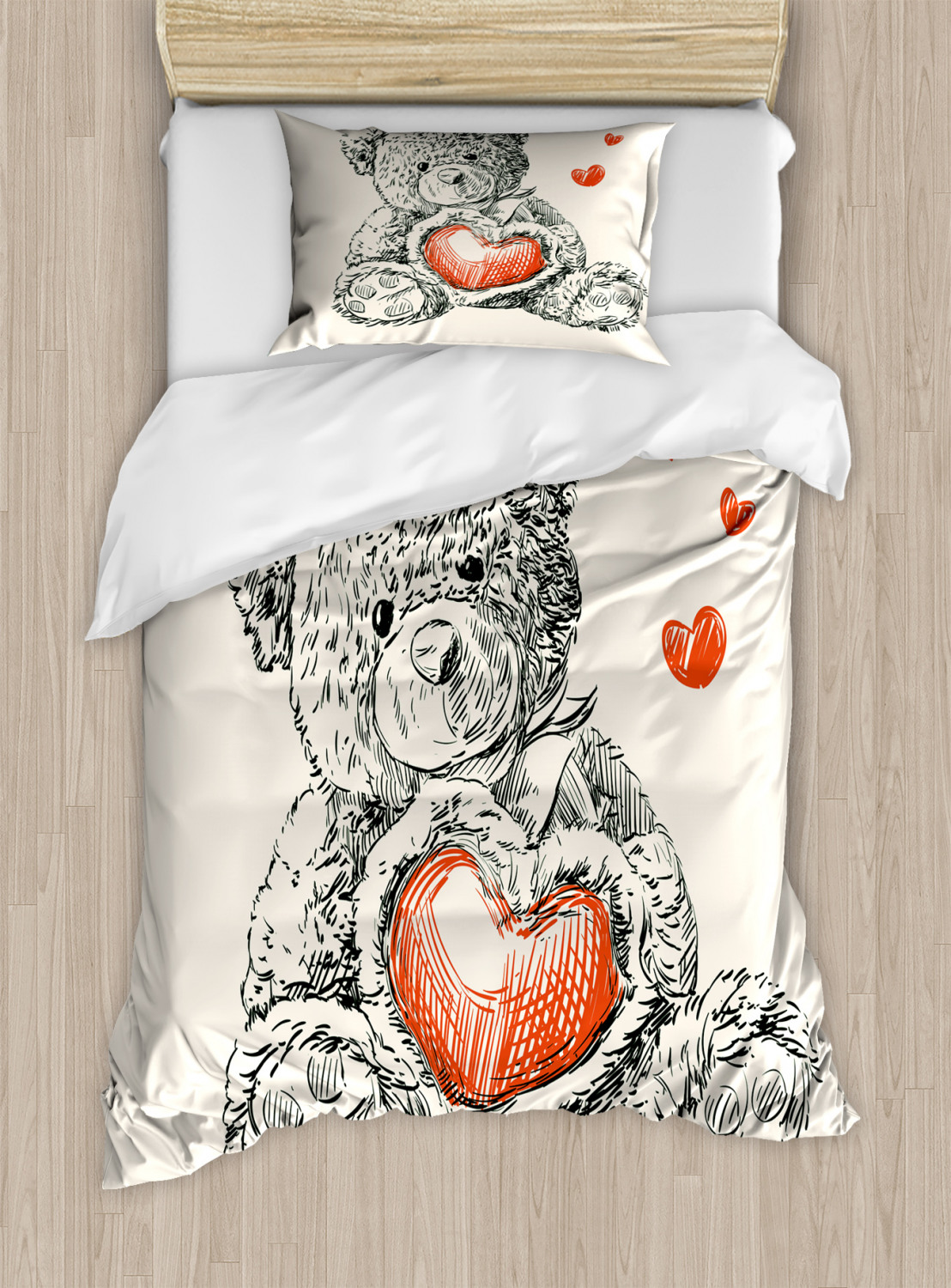 doodle duvet cover set with pillow shams detailed teddy. Black Bedroom Furniture Sets. Home Design Ideas