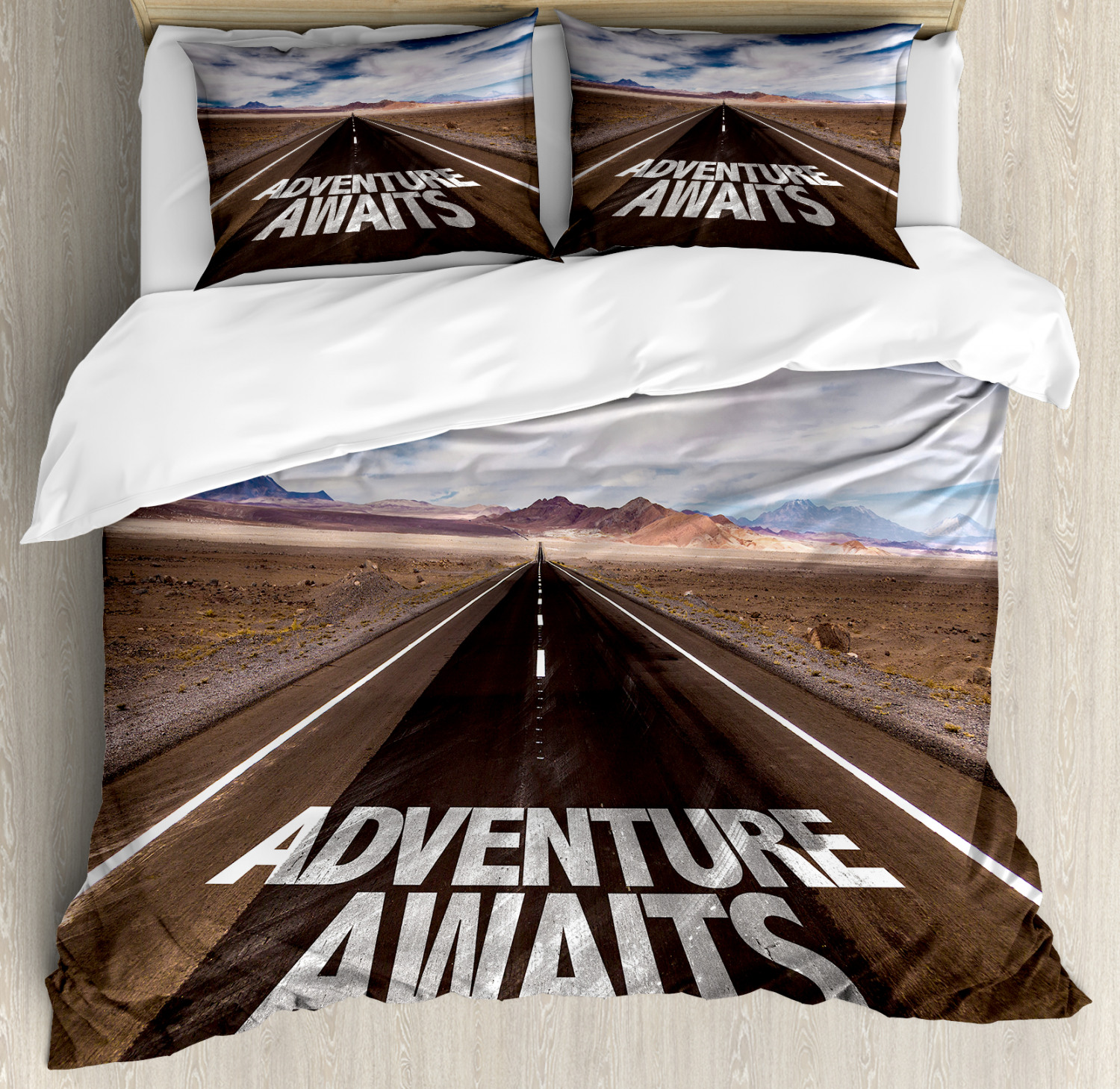 Adventure Duvet Cover Set with Pillow Shams Road Trip Quote Art Print