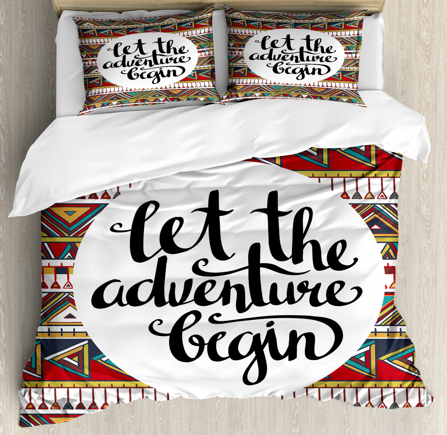Adventure King Size Duvet Cover Set Ethnic Aztec Motifs with 2 Pillow Shams