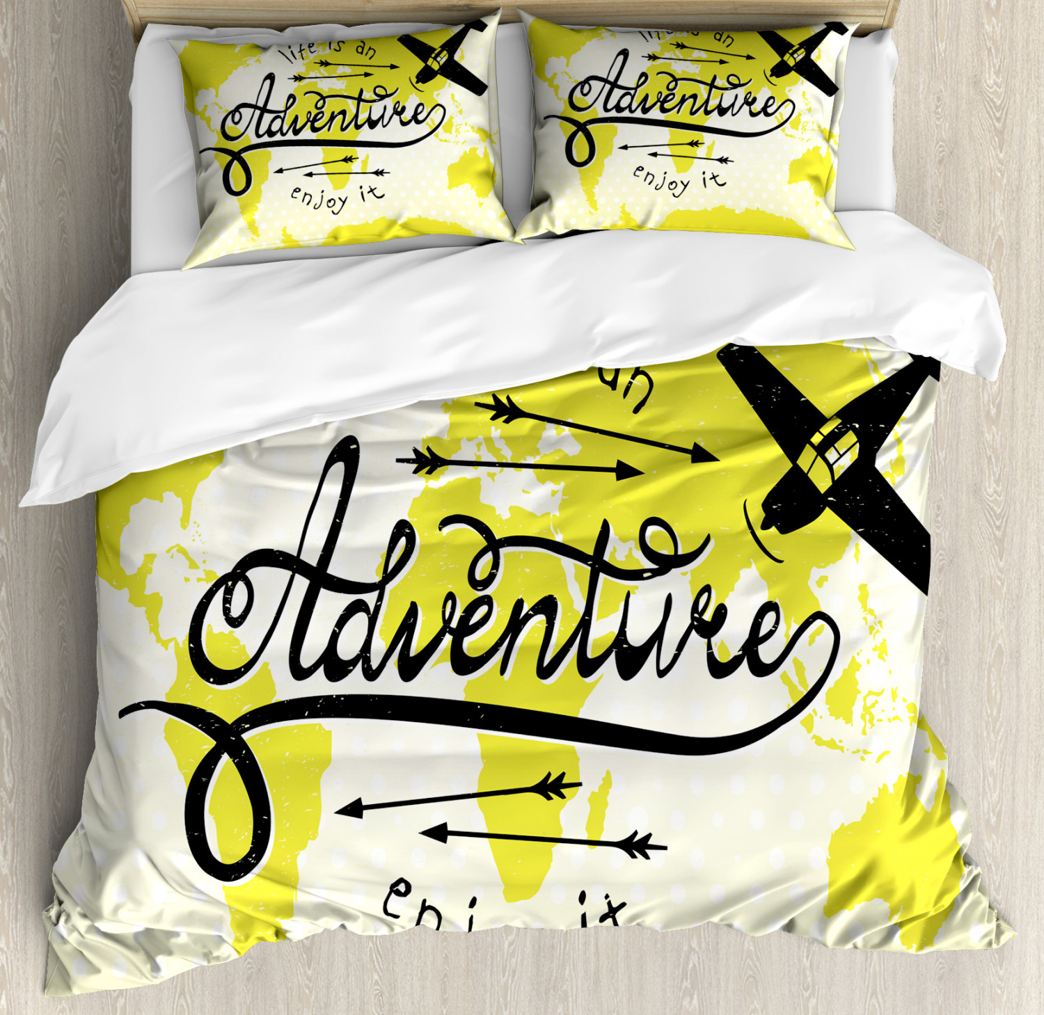 Adventure Duvet Cover Set with Pillow Shams World Map Airplane Print