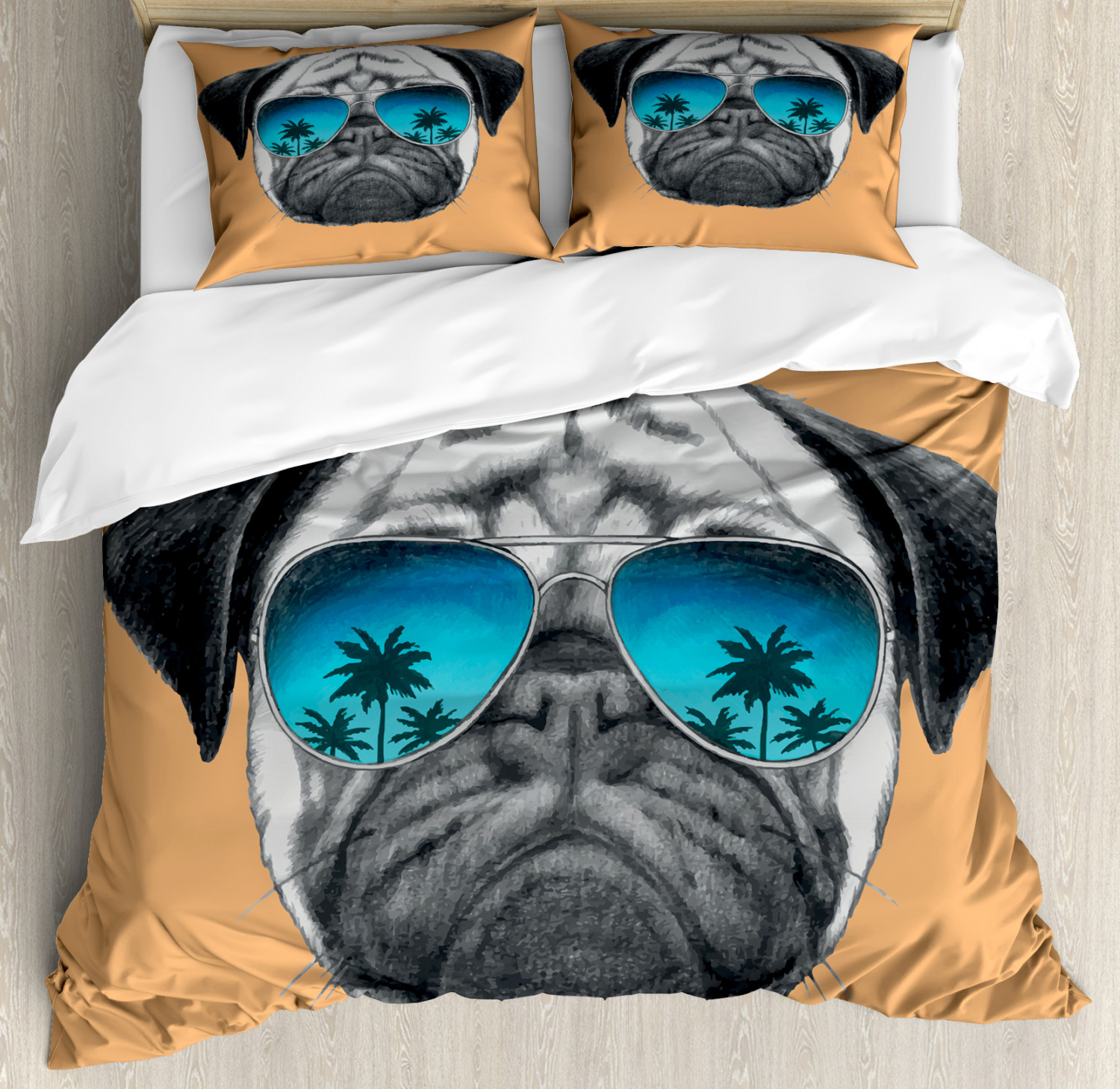 Pug Duvet Cover Set with Pillow Shams Dog and Stylish Sunglasses Print