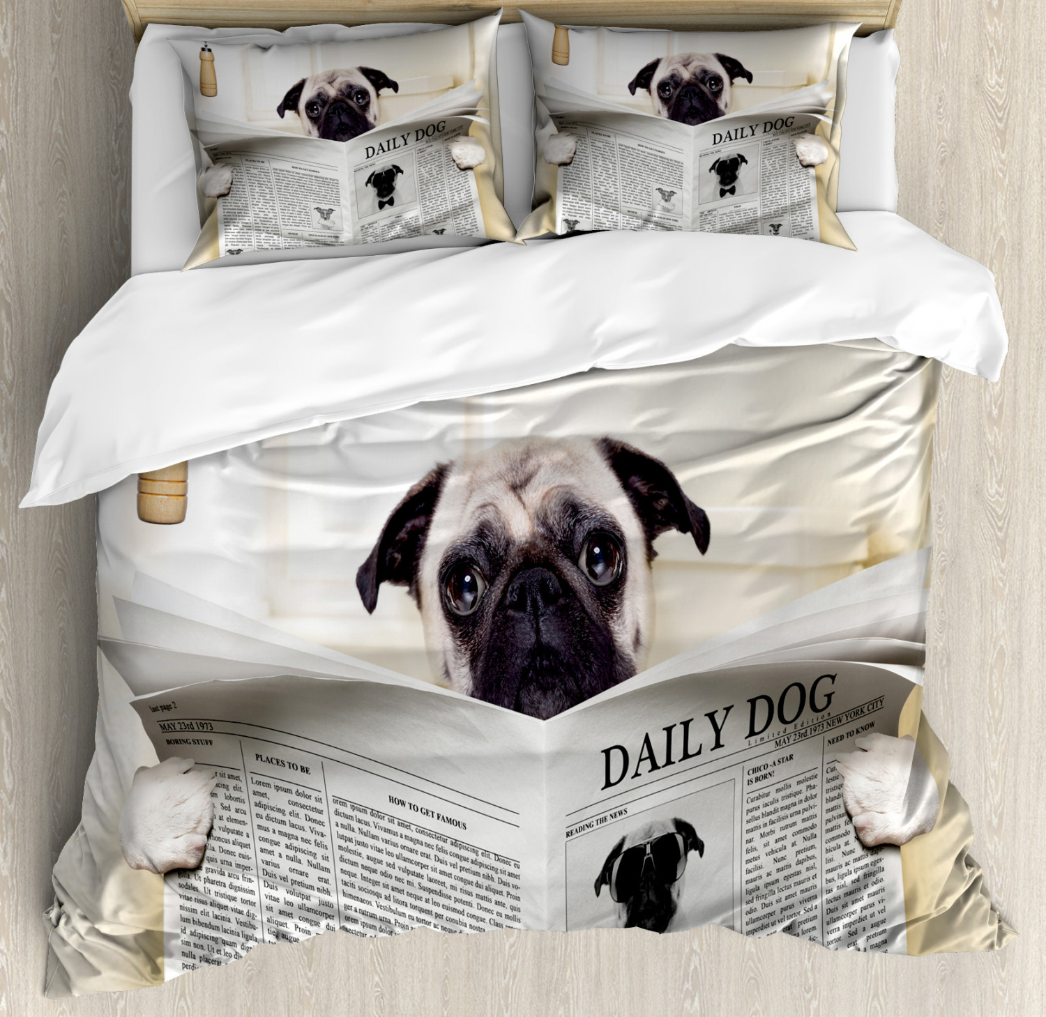 Pug Duvet Cover Set with Pillow Shams Puppy Reading Newspape