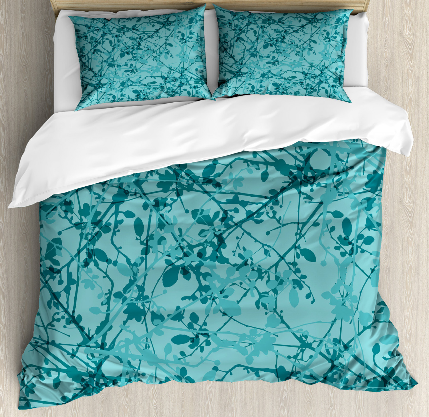 Teal Duvet Cover Set with Pillow Shams Ink Drawing Style Tree Print