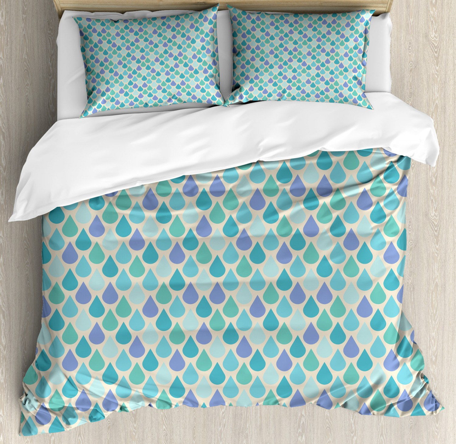 Teal Duvet Cover Set with Pillow Shams Coloreeful Water Droplets Print