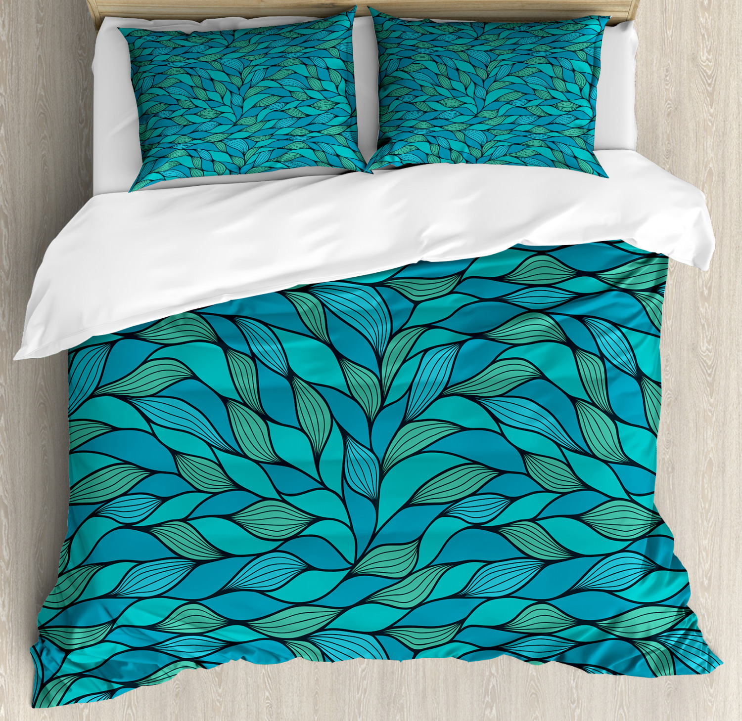 Teal Duvet Cover Set with Pillow Shams Abstract Wave Ocean Motif Print