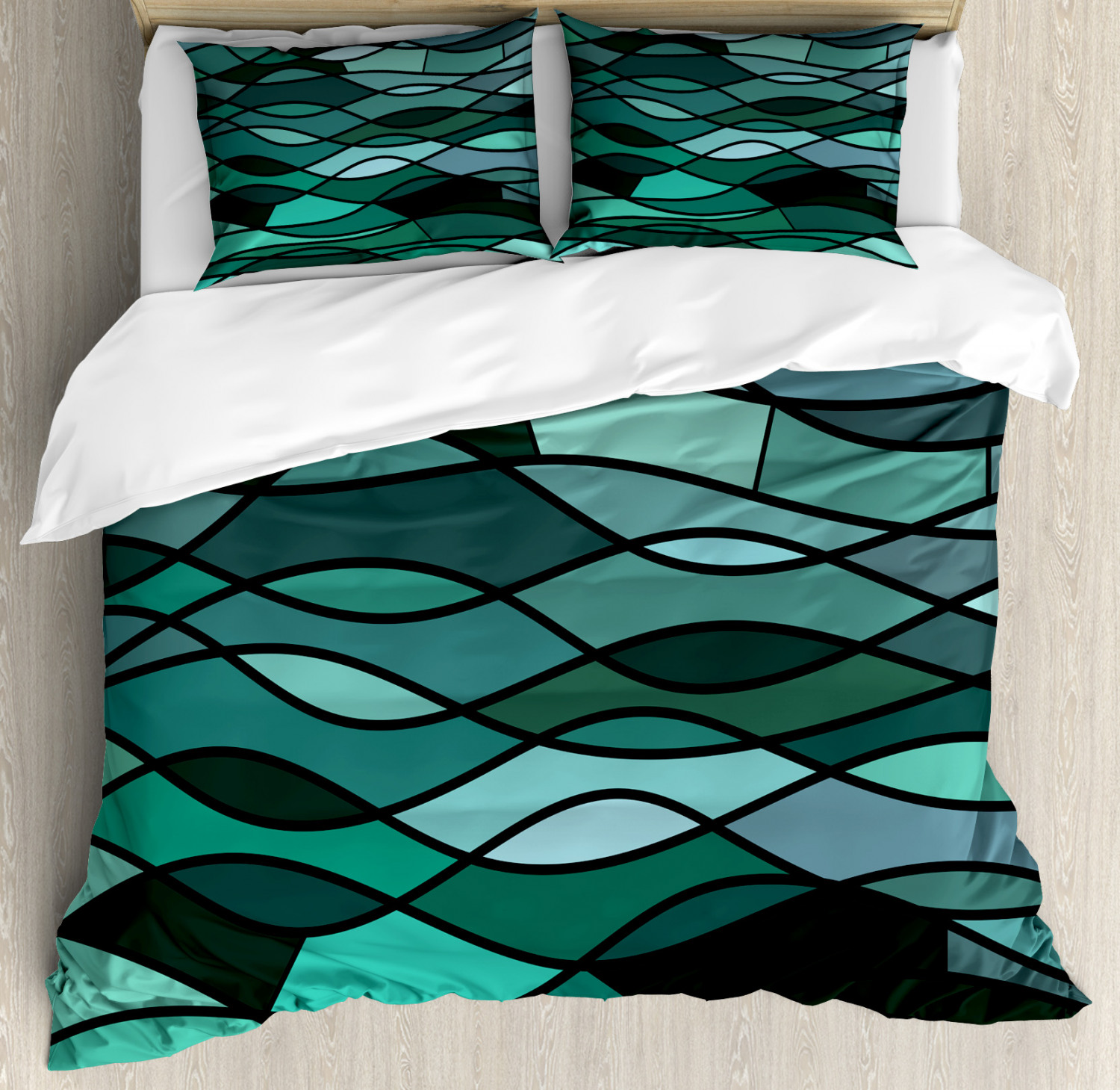 Teal Duvet Cover Set with Pillow Shams Mosaic Sea Waves Inspired Print