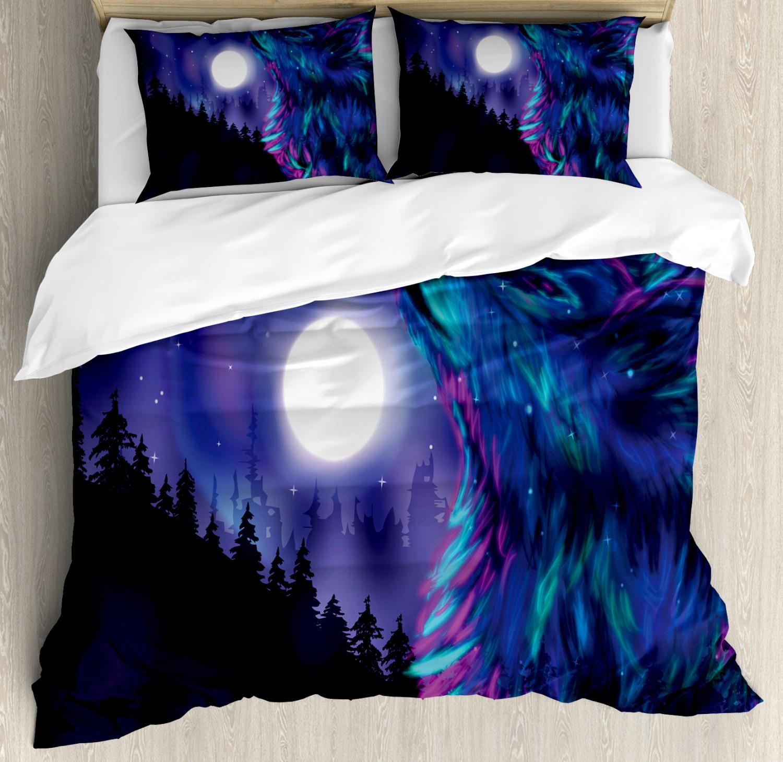 Moon Duvet Cover Set with Pillow Shams Aurora Borealis and Wolf Print