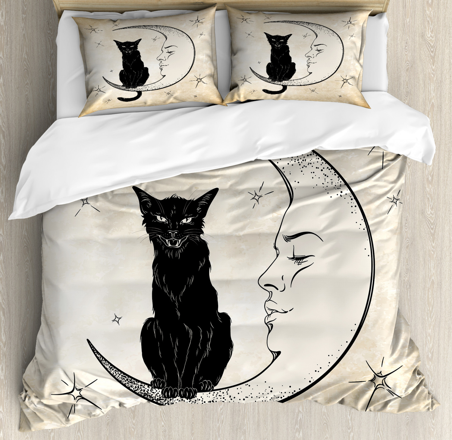 Moon Duvet Cover Set with Pillow Shams Black Cat Siting on M