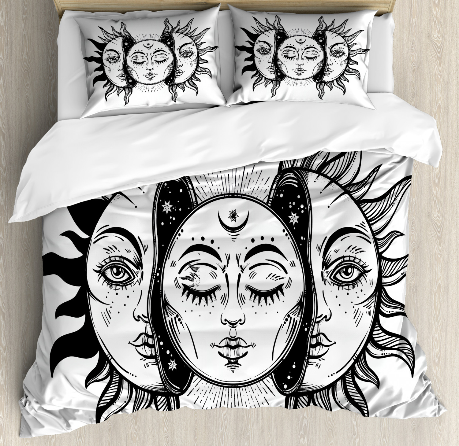 Moon Duvet Cover Set with Pillow Shams Monochrome Sun and Moon Print