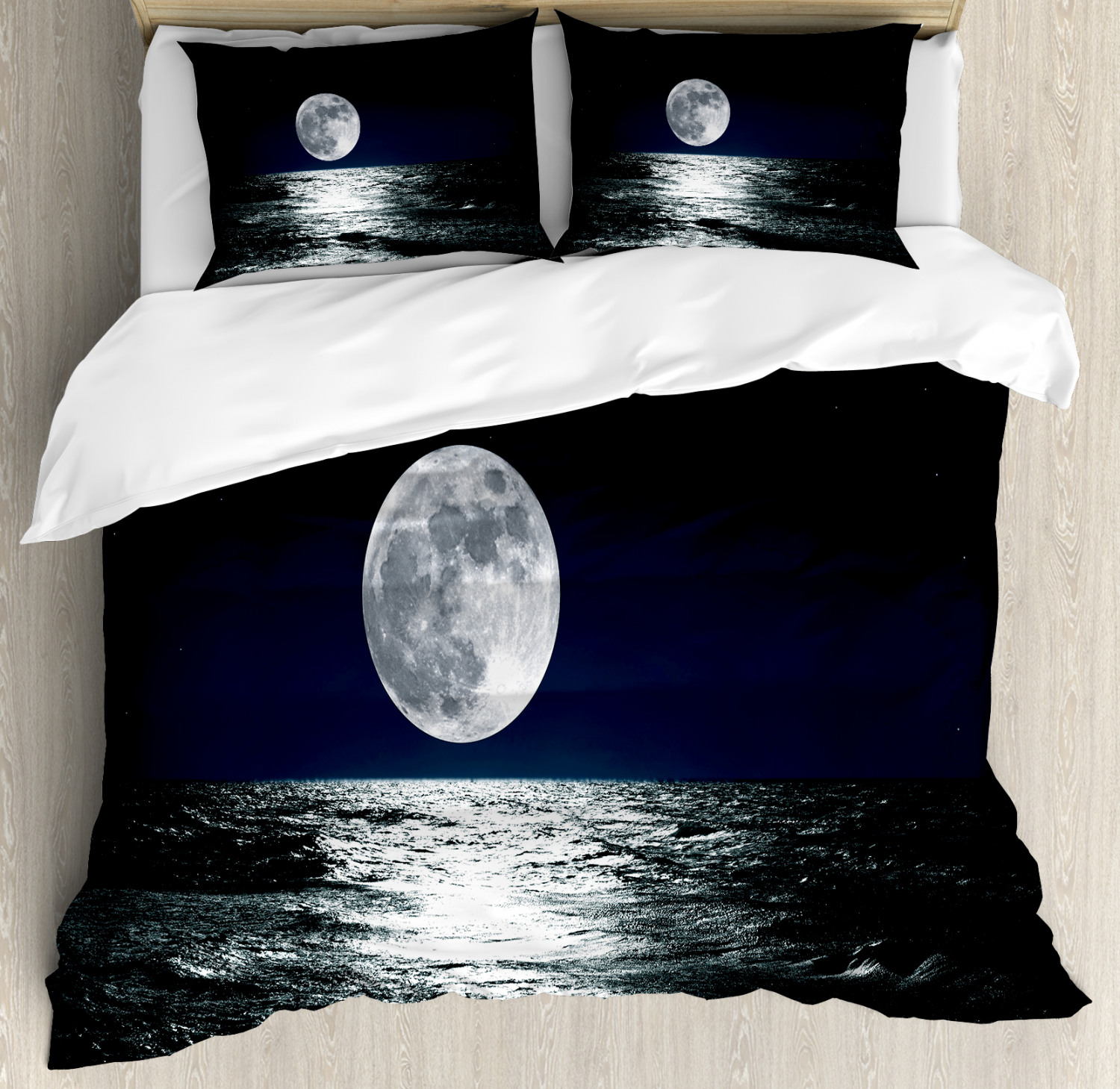 Moon Duvet Cover Set with Pillow Shams Ethereal Theme Drawing Print