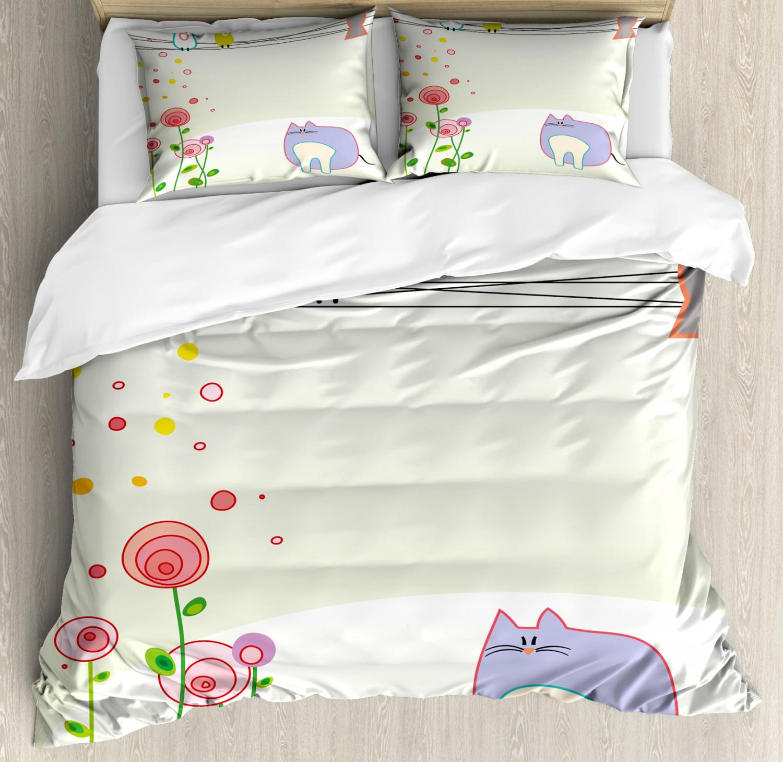 Toddler Duvet Cover Set with Pillow Shams Cute Bird Cat Flow