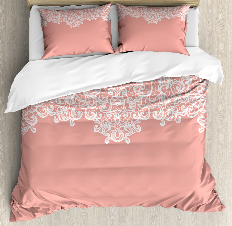 Peach Duvet Cover Set with Pillow Shams Floral Wedding Theme Print
