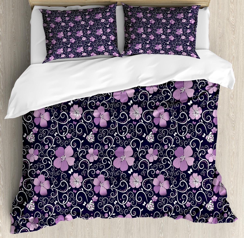 Floral Duvet Cover Set with Pillow Shams Flower Patterned Design Print